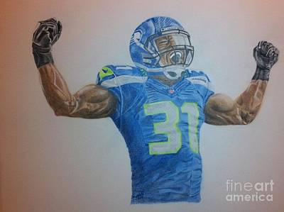 Football Safety Drawing - Bam Bam Kam Chancellor by Angela Q