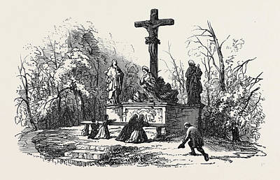 Bayern Drawing - Bamberg Calvary On The Altenberg Germany 1866 by German School