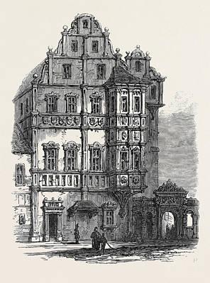 Bayern Drawing - Bamberg The Bishops Palace Germany 1866 by German School