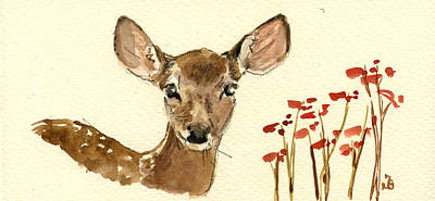 Signed . Nature Painting - Bambi by Juan  Bosco
