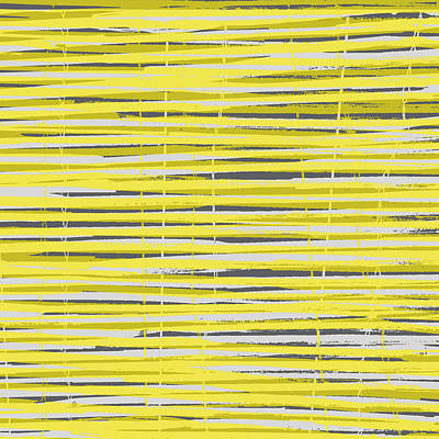 Bamboo Fence - Yellow And Gray Art Print