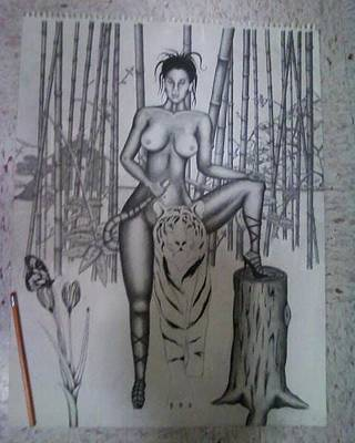 Bamboo House Drawing - Bamboo Forest by Demarkco Arthur