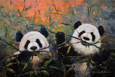 Painting - Bamboo Friends by Kanayo Ede