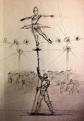 Balance Drawing - Bamboo by H James Hoff