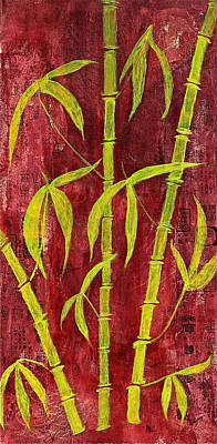 Collage Mixed Media - Bamboo On Red by Bellesouth Studio