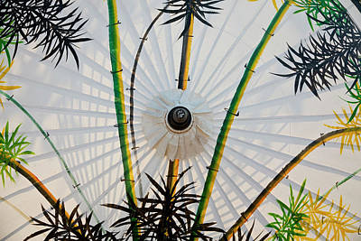 Bamboo Photograph - Bamboo Pattern On Painted Parasol, Bo by Peter Adams