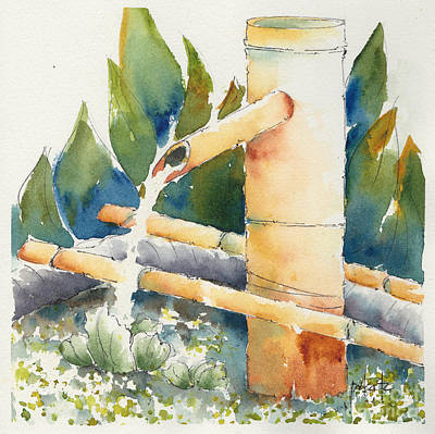 Painting - Bamboo Water Spout by Pat Katz