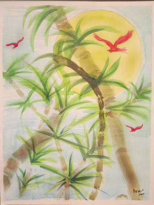 Painting - Bamboo With Red Birds by Nora Martinez