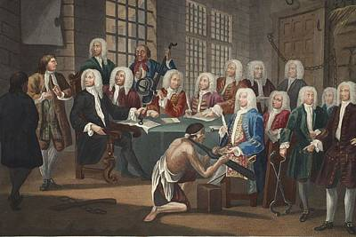 Torture Wall Art - Drawing - Bambridge On Trial For Murder by William Hogarth