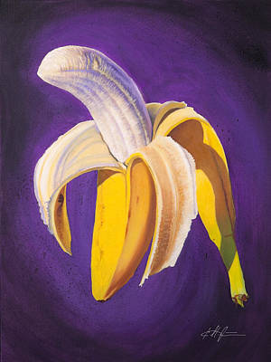 Banana Wall Art - Painting - Banana Half Peeled by Karl Melton