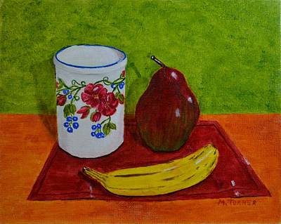 Art Print featuring the painting Banana Pear And Vase by Melvin Turner