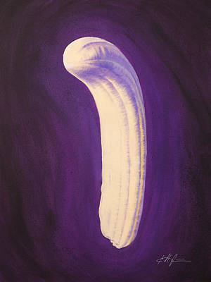 Yellow Bananas Painting - Banana Peeled by Karl Melton