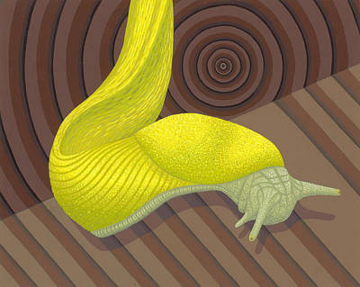 Yellow Bananas Painting - Banana Slug by Nathan Marcy