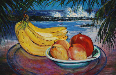 Puerto Rico Painting - Bananas And Mangoes At Jobo Beach Isabela by Estela Robles