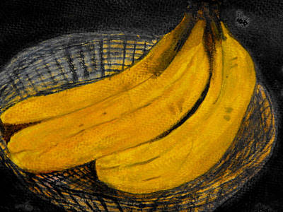 Painting - Bananas In Basket by Larry Farris