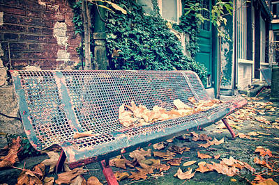 Country Scene Photograph - Banc Public by Delphimages Photo Creations
