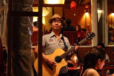 Performing Photograph - Band At Palaad Tawanron Restaurant - Chiang Mai Thailand - 01133 by DC Photographer