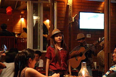 Performance Photograph - Band At Palaad Tawanron Restaurant - Chiang Mai Thailand - 01137 by DC Photographer