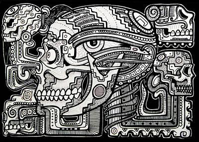 Mayan Drawing - Band Of Skulls by Alex Amezola