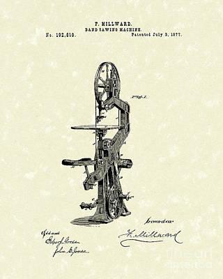 Band Saw 1877 Patent Art Art Print by Prior Art Design