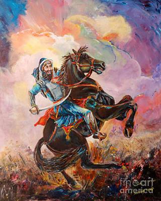 Horse In Action Painting - Banda Singh Bahadur by Sarabjit Singh