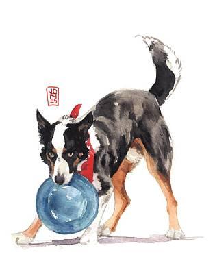 Watercolor Pet Portraits Painting - Bandanna Catch by Debra Jones
