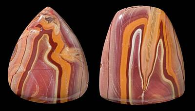 Cabochon Wall Art - Photograph - Banded Rhyolite Specimens by Natural History Museum, London/science Photo Library