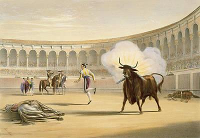 Stadium Drawing - Banderillas De Fuego, 1865 by William Henry Lake Price