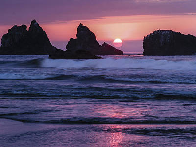 Bandon Beach Sunset Art Print by Jean Noren