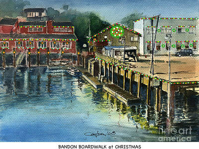 Bandon Boardwalk At Christmas Art Print by Anthony Coulson