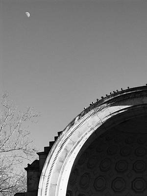 Photograph - Bandshell And Moon by Dave Beckerman