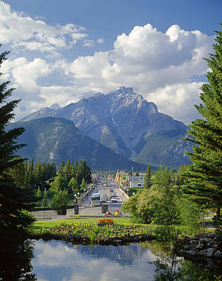 Bath Time Rights Managed Images - 1M3305-Banff Main street and Cascade Mountain Royalty-Free Image by Ed  Cooper Photography