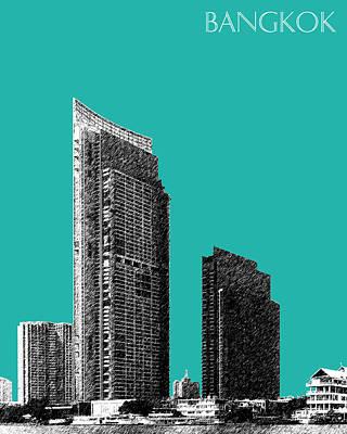 Pen Digital Art - Bangkok Thailand Skyline 3 - Teal by DB Artist