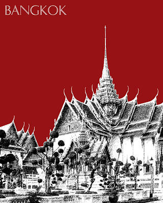 Bangkok Thailand Skyline Grand Palace - Dark Red Art Print by DB Artist