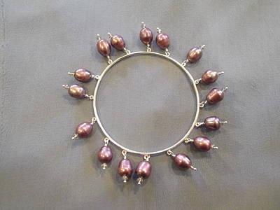Sterling Silver Bracelet Jewelry - Bangle Pink Pearls by Jan Durand