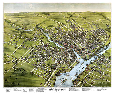 Cartography Painting - Bangor - Maine - 1875 by Pablo Romero