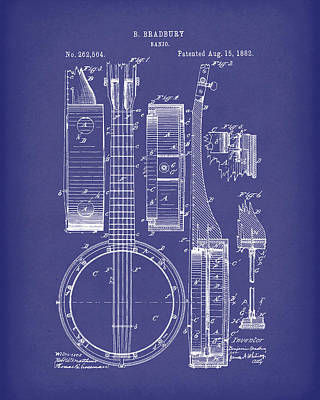 Drawing - Banjo 1882 Patent Art Blue by Prior Art Design