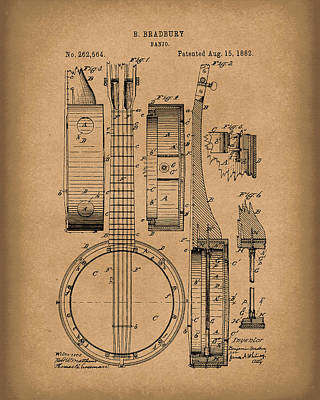 Banjo Drawing - Banjo 1882 Patent Art Brown by Prior Art Design