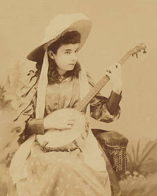 Photograph - Banjo Girl 1880s by Paul Ashby Antique Image