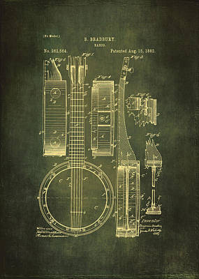 Old Objects Drawing - Banjo Patent Drawing - Cyan by Maria Angelica Maira