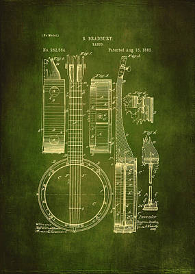 Acoustical Drawing - Banjo Patent Drawing - Green  by Maria Angelica Maira