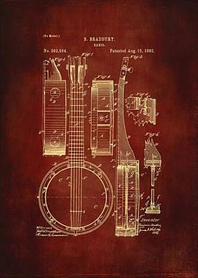 Acoustical Digital Art - Banjo Patent Drawing - Burgundy by Maria Angelica Maira