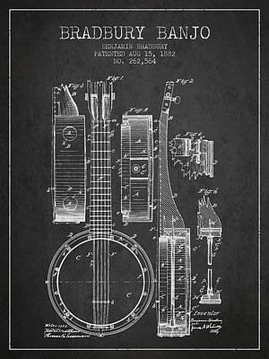 Banjo Patent Drawing From 1882 Dark Art Print by Aged Pixel