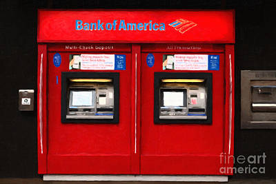 Bank Of America Automated Teller Machine - Painterly - 5d20737 Art Print by Wingsdomain Art and Photography