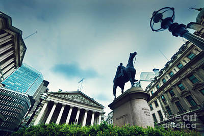 Exchange Photograph - Bank Of England The Royal Exchange And The Wellington Statue Londonuk by Michal Bednarek