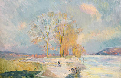 Wintertime Painting - Banks Of The Seine And Vernon In Winter by Albert Charles Lebourg