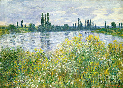 Seine River Wall Art - Painting - Banks Of The Seine Vetheuil by Claude Monet