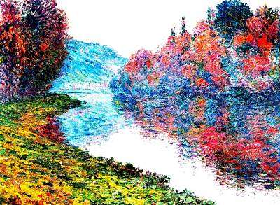 Banks Seine River At Jenfosse France Enhanced Art Print by Claude Monet - L Brown