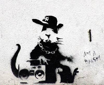 Graffiti Photograph - Banksy Boombox  by A Rey