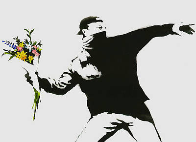 Collectible Mixed Media - Banksy Flower Thrower by Graffiti Street Art